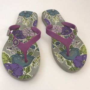 Vera Bradley Floral Blue Purple Flip Flops - 8